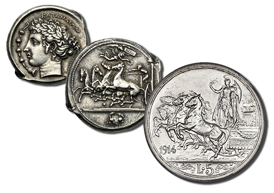 Left: Obverse and Reverse of Sicily, Tetradrachm, Katane, c. 410-405 BC; Right: Reverse of Italy 1914, Lire 5.