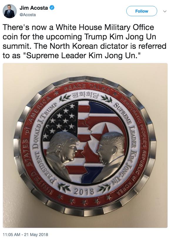Jim Acosta Trump Challenge Coin Tweet