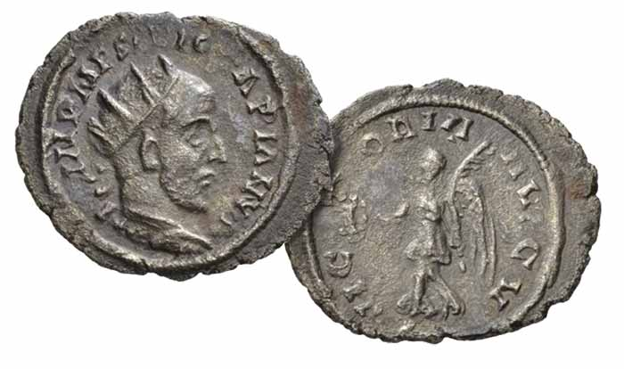 Jotapian, 248 – 249  Antoninianus, Nicopolis Seleuciae (?) 248-249, AR 4.13 g. IMP M F RV IO[T]ΛPIΛNVS Radiate and cuirassed bust r. Rev. VICTORIΛ − ΛVGV Victory advancing l., holding wreath and palm branch. C 2 . RIC 2c Bland, Essays Carson, − , cf. 1 (this obverse die). Extremely rare and among the finest specimens known.