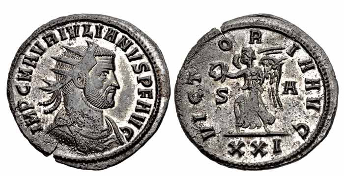 Julian of Pannonia. Usurper, AD 284-285. Antoninianus (22mm, 3.57 g, 6h). Siscia mint, 1st officina. Struck December AD 284. IMP C M AVR IVLIANVS P F AVG, radiate, draped, and cuirassed bust right / VICT OR IA AVG, Victory advancing left, holding wreath in her extended right hand, and cradling palm frond with her left arm; S-A//XXI. RIC V 5; Venèra 4396. Choice EF, nice silvering,