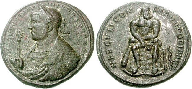 Ancient Roman Imperial bronze coin of Maximian. Images courtesy Classical Numismatic Group (CNG)