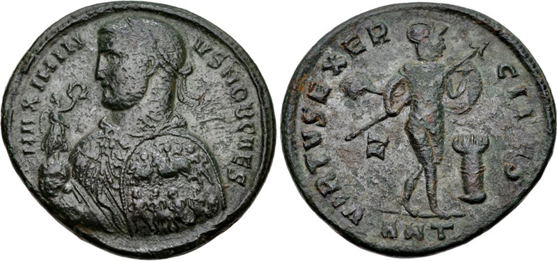 Ancient Roman imperial coin of Maximinus II. Images courtesy CNG