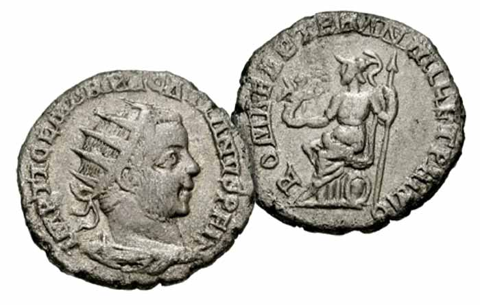 PACATIAN. 248-249 AD. AR Antoninianus (4.38 gm). Viminacium mint. Dated 248 AD. IMP TI CL MAR PACATIANVS P F I(N...), radiate, draped and cuirassed bust right, seen from behind / ROMAE AETER AN MIL ET PRIMO, Roma seated left on shield, holding Victory with wreath, and spear. RIC IV 6