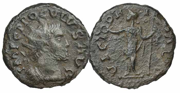 Proculus (Usurper c. 280-281), billon Radiate, uncertain Gallic mint, IMP C PROCVLVS AVG, radiate and cuirassed bust right, rev. VICTORIA AVG, female figure standing left, holding wreath and sceptre, 2.97g/12h (Vagi, Coinage and History of the Roman Empire, 2470). Very fine, dark tone, edge a little ragged; only the second known coin of this usurper, extremely rare and the only example available to commerce £50,000-70,000