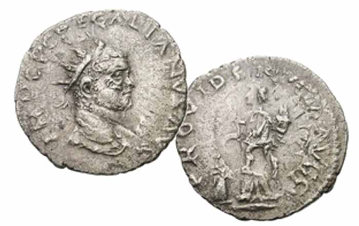 Regalianus; 260 AD. Carnuntum. Antoninianus, 3.44g. RIC 8 corr. (R5), pl. XX.8 (same dies); Cohen 5 (400 Fr.); Göbl pl. I, A1-5 (same dies). Obv: IMP C P C REGALIANVS AVG Bust radiate, draped right, the facial features are those of Caracalla from the undertype. Rx: PROVIDENTIA AVGG Annona standing left holding wheat ears over modius on ground and cornucopia, copied from the similar PROVIDENTIA AVG type of Severus Alexander. Extremely rare