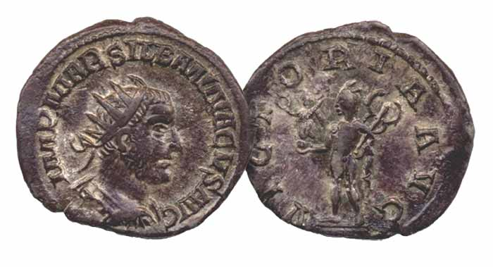 This coin long remained doubtful (and at best misattributed) until the 1990s discovery near Paris of a second example with die-identical obverse but a Mars reverse type used by Aemilian (to whose radiates from the mint of Rome they are similar in style and fabric). Despite the French findspots for both Silbannacus coins (current example was found in Lorraine) and his Gallic-sounding name, his brief usurpation must have included dominion over Rome (and little else) where his coinage was apparently made.