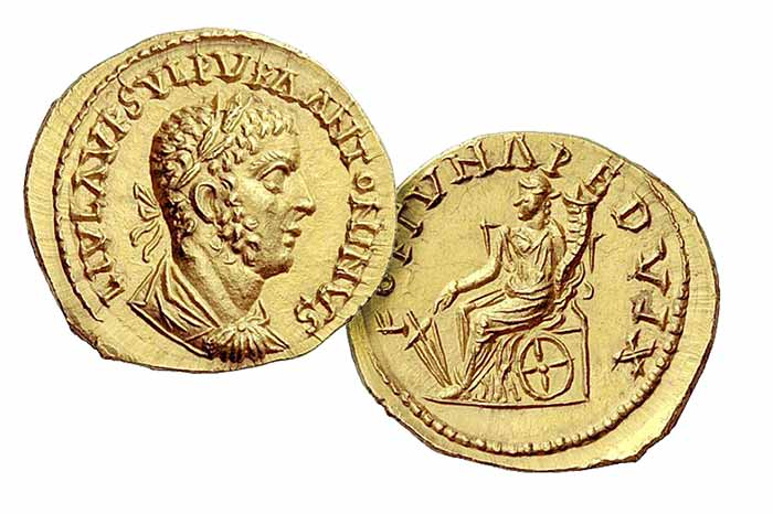 Uranius Antoninus, 253 – 254  Aureus, Emesa 253-254, AV 5.39 g. L IVL AVR SVLP VRA ANTONINVS Laureate, draped and cuirassed bust r. Rev. FORTVNA PEDVX Fortuna seated l. on throne, holding rudder and cornucopiae; below throne, wheel. C –. RIC 4*. Calicó 3388. Baldus, Uranius Antoninus 72 (this coin).