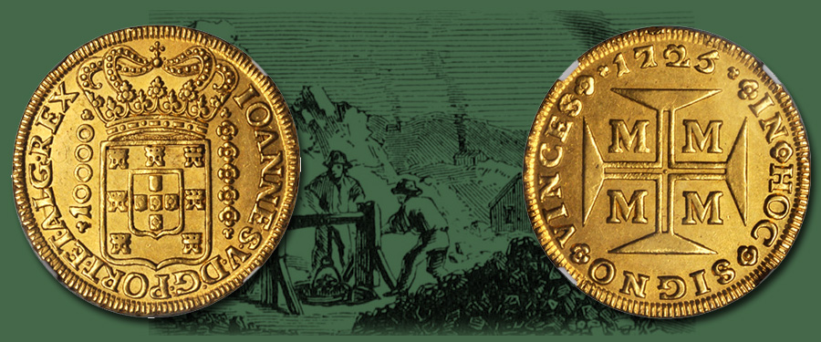 Brazilian gold 10,000 Reis of Joao V. Images courtesy Stack's Bowers Auctions