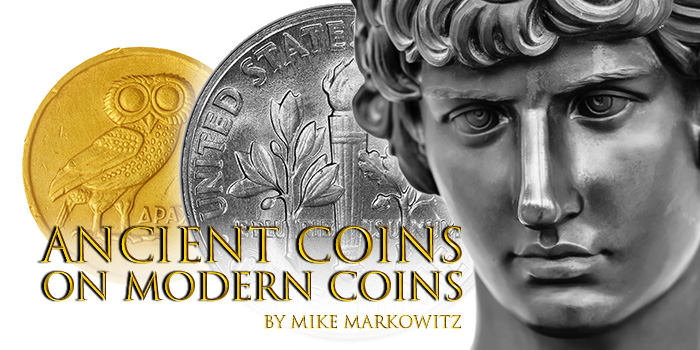 Ancient Coins on Modern Coins