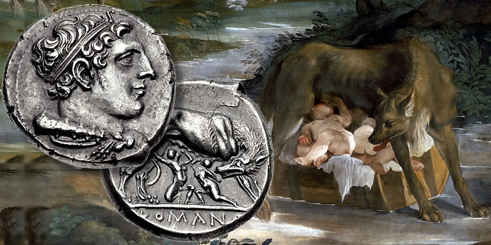 Roman coin designs feature mythological accounts of the republic's origins such asRomulus and Remus depicted above.