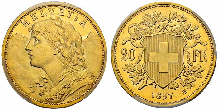 Switzerland, Swiss Confederation 1897 20 francs. Sincona 47.