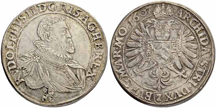 Rudolf II Double taler 1607. Sincona 47.