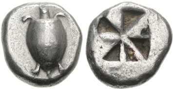 Aegina silver stater. Ancient Greek coins courtesy NGC