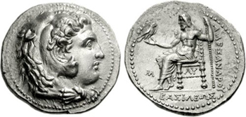 "Silver Tetradrachm of the Macedonian King Alexander III ""the Great"" (336-323 BCE). Images courtesy CNG, NGC"
