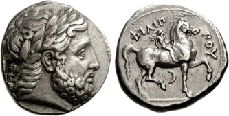 Silver Tetradrachm of the Macedonian King Philip II (359-336 BCE). Images courtesy CNG, NGC