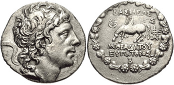 Silver Tetradrachm of the Pontic King Mithradates VI (120-63 BCE). Images courtesy CNG, NGC