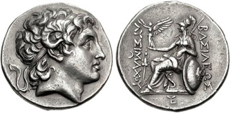 Silver Tetradrachm of the Thracian King Lysimachus (323-281 BCE). Images courtesy CNG, NGC