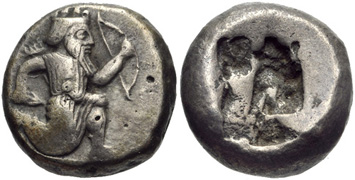 Persian Silver Siglos (5th-4th Centuries BCE). Images courtesy CNG, NGC