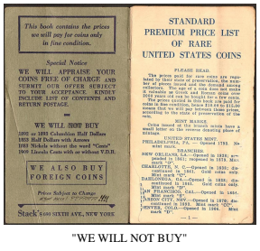 Stack's 1936 DO NOT WANT list. Image courtesy David W. Lange, Coin Board News