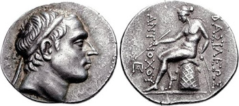 "Silver Tetradrachm of the Seleucid King Antiochus III ""the Great"" (223-187 BCE). Images courtesy CNG, NGC"