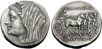 Silver 16-Litrae of the Syracusan Queen Philistis (2nd century BCE). Images courtesy CNG, NGC