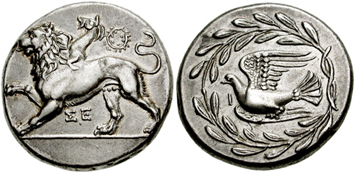 Sicyon silver stater. Ancient Greek coins courtesy NGC