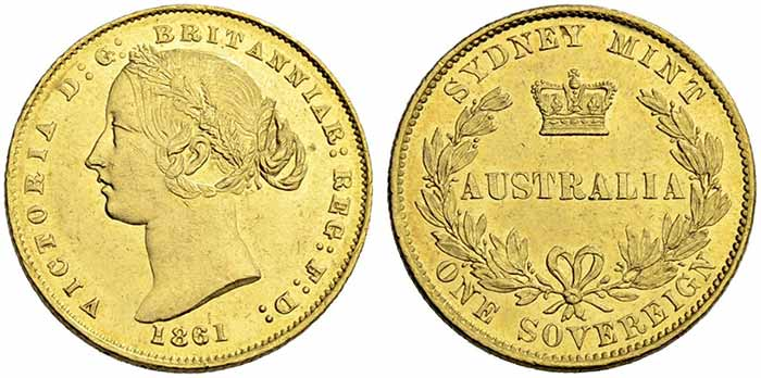 Australia, Sovereign 1861. Sincona 46