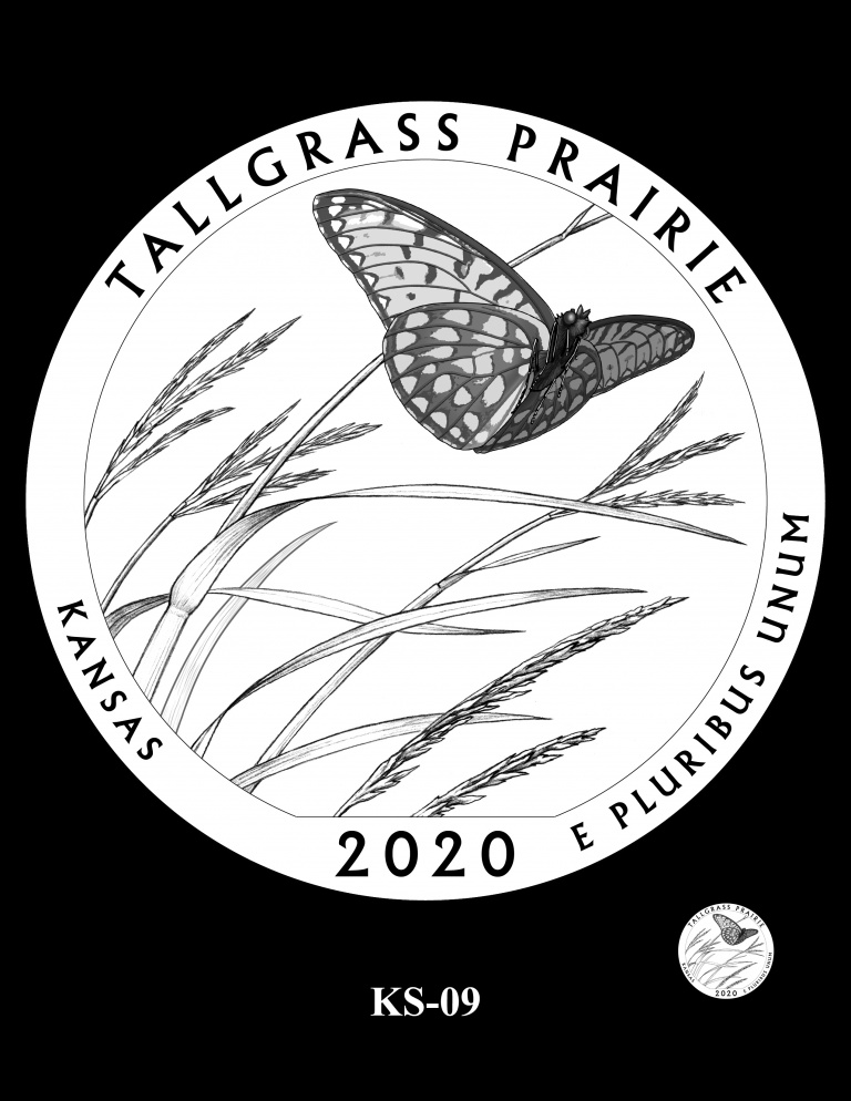 United States 2020 America the Beautiful - Tallgrass Prairie National Preserve quarter dollar design recommended by CCAC, courtesy U.S. Mint
