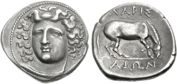 Thessaly Larissa silver drachm. Ancient Greek coins courtesy NGC