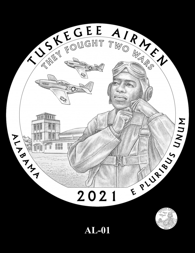 United States 2021 America the Beautiful - Tuskegee Airmen National Historic Site quarter dollar design recommended by CCAC, courtesy U.S. Mint