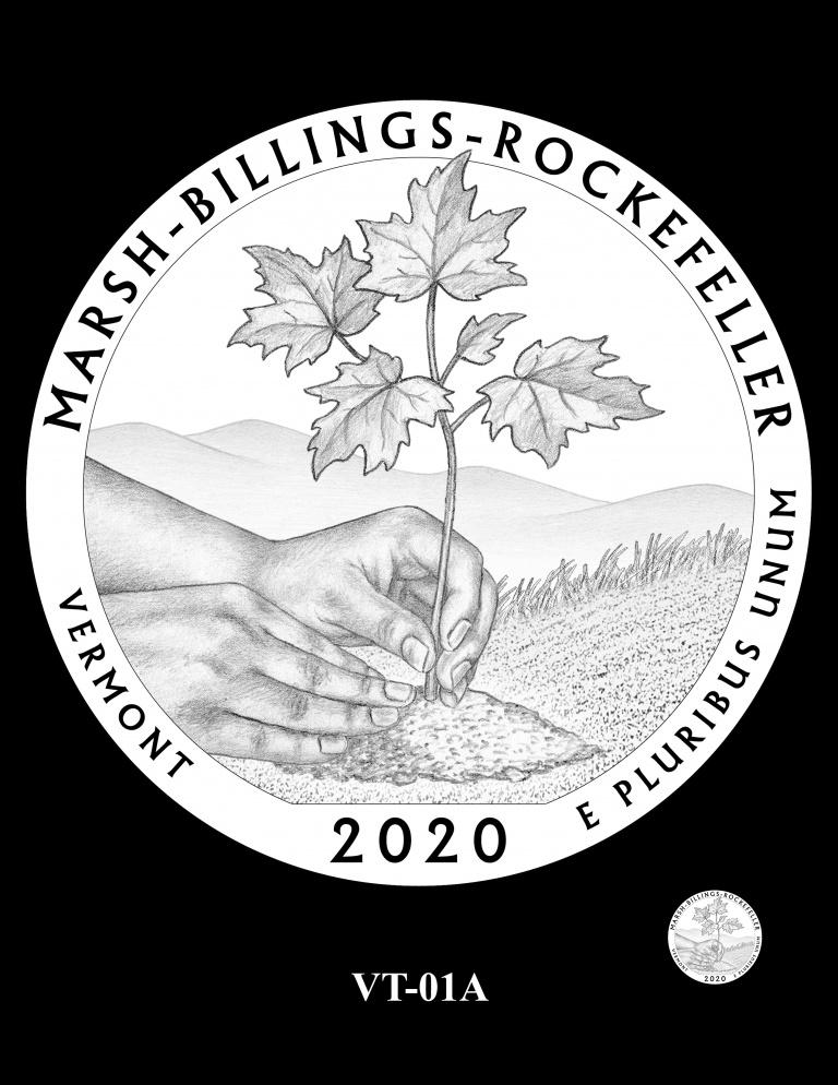 United States 2020 America the Beautiful - Marsh-Billings-Rockefeller National Historical Park quarter dollar design recommended by CCAC, courtesy U.S. Mint