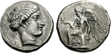 Bruttium, Terina. Silver Stater, c.460-356 BCE. Images courtesy NGC