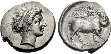Campania, Neapolis. Silver Didrachm, c.440-250 CE. Images courtesy NGC