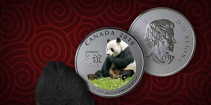 Royal Canadian Mint Friendship 2018 Silver Coin 8 Dollars. Panda Coin