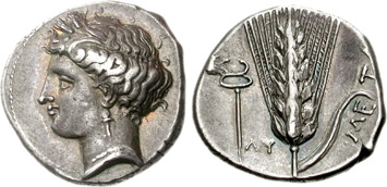 Lucania, Metapontum. Silver Stater, c.430-280 BCE. Images courtesy NGC