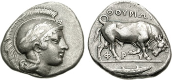 Lucania, Thurium. Silver Stater, c.443-280 BCE. Images courtesy NGC
