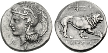 Lucania, Velia. Silver Stater, c.440-280 BCE. Images courtesy NGC