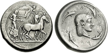 Syracuse Silver Tetradrachm c. 485-390 BCE. Images courtesy NGC
