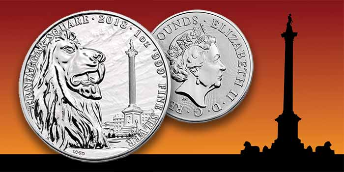 London's Trafalgar Square: Landmarks of Britain Silver Coin - Apmex