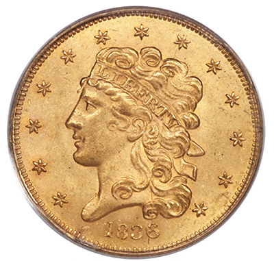 1836 $5 Gold Coin CAC MS64