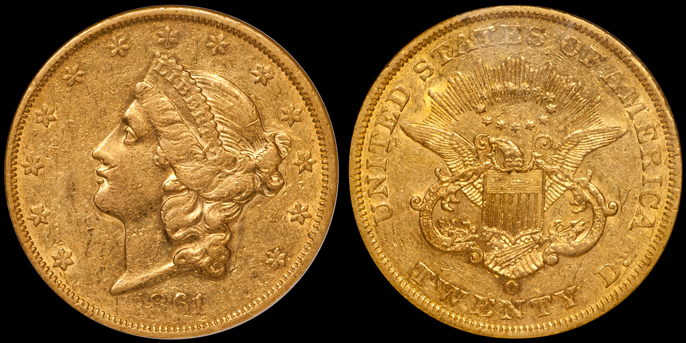 1861-O $20.00 NGC AU55. Images Doug Winter