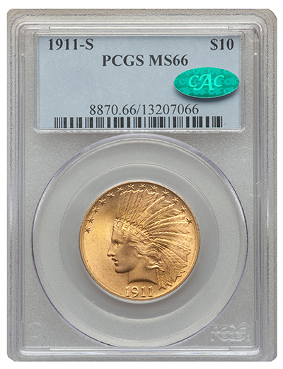 1911-S $10 Gold MS66 CAC