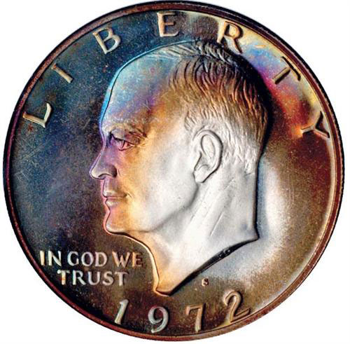 Toned 1972-S Eisenhower Dollar Proof (NGC PF68). Price Realized: $920 at Stack's Bowers Auction