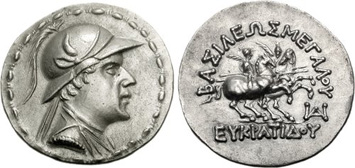 silver tetradrachm of King Eucratides I. Images courtesy NGC
