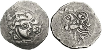 Celtic debased stater struck c.100-50 BCE, Northwest Gaul. Images courtesy NGC