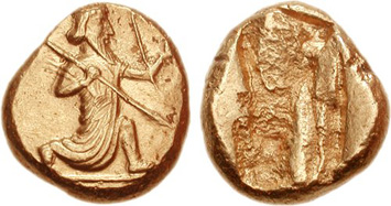 Persian gold daric of the late 5th or early 4th century BCE. Images courtesy NGC