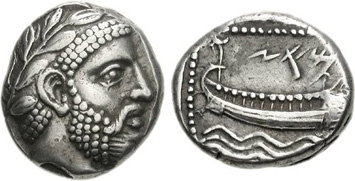 Phoenician silver stater of Aradus. Images courtesy NGC