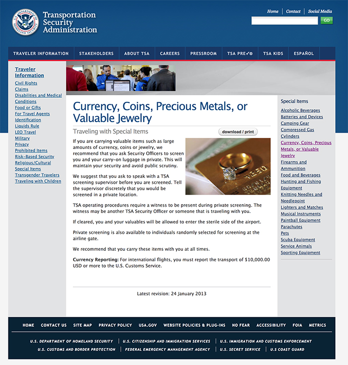 Screen grab of TSA guidance on Currency, Coins, Precious Metals, or Valuable Jewelry.