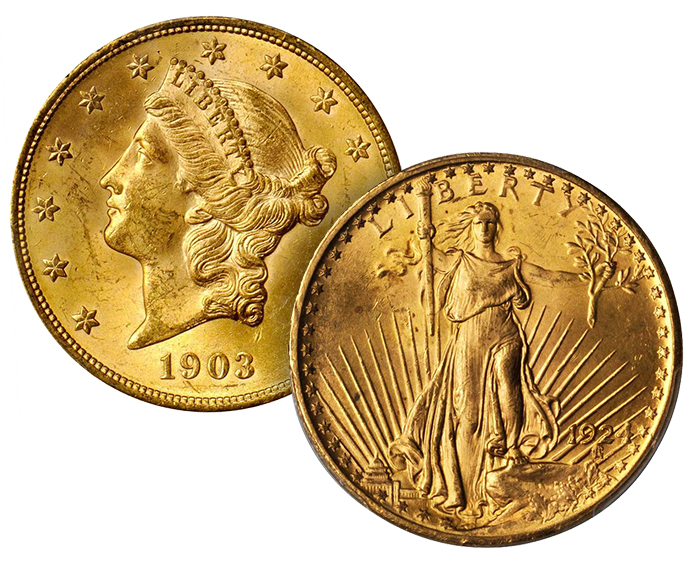 $20 double eagles - 1903 Liberty Head Double Eagle - 1924 Saint Gaudens Double Eagle