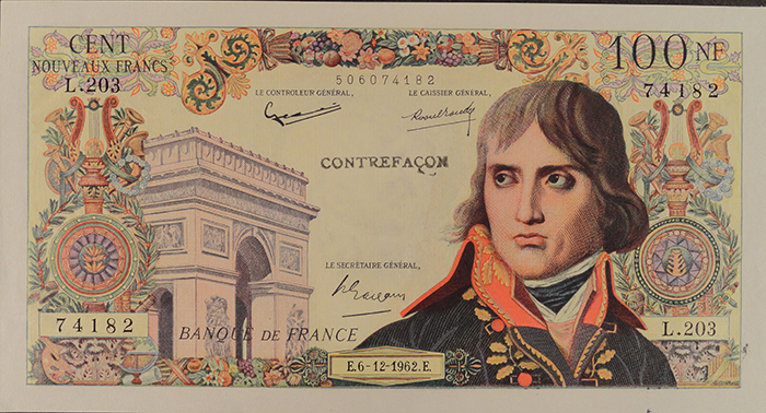 Bojarski's most famous counterfeit banknote was the 100 Nouveaux Francs Bonaparte.
